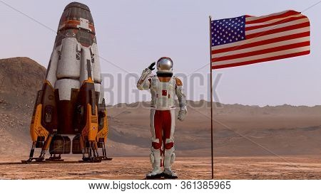 Astronaut Saluting The American Flag. Exploring Mission To Mars. Futuristic Colonization And Space E
