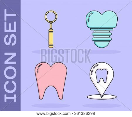 Set Dental Clinic Location, Dental Inspection Mirror, Tooth And Dental Implant Icon. Vector