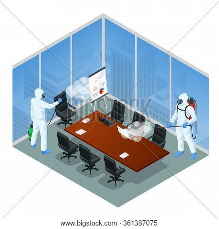 Isometric Man Wearing A Protective Suit Disinfects Office Workspace With A Spray Gun. Virus Pandemic
