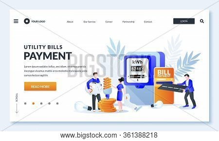 Utility Bills Online Payment Concept. Vector Illustration Of People Characters, Electricity Invoice