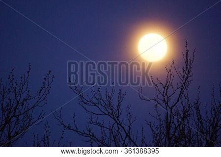 Supermoon pink full moon 8 April 2020 in France. It occurs when the full moon is at its closest poin