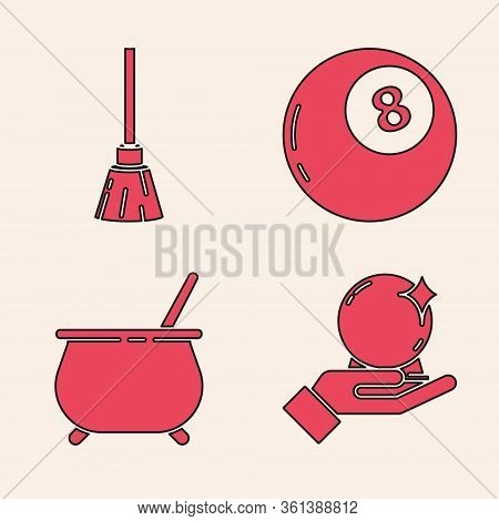 Set Magic Ball On Hand, Witches Broom, Magic Ball Of Predictions And Witch Cauldron Icon. Vector