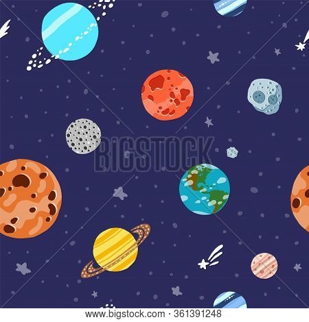 Cosmic Fabric For Kids. Solar System Planets Repeated Tile. Cute Design For Kids Fabric And Wrapping