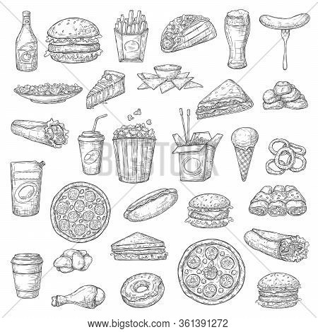 Fast Food Burgers, Drinks And Desserts Vector Sketch Icons. Pizza And Hamburger Sandwich, Chicken Wi