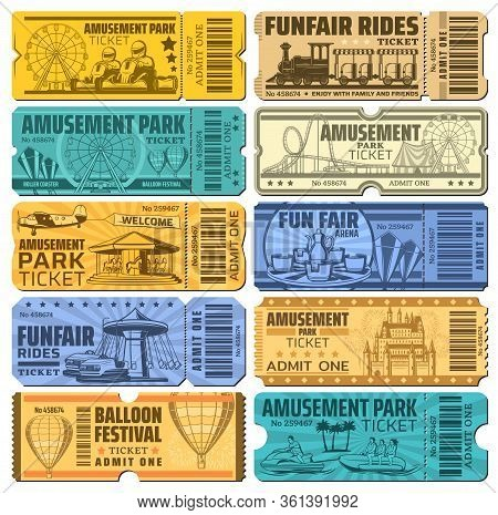 Amusement Park Tickets , Funfair Carnival And Rides Vector Admits. Hot Air Balloons Show And Karting