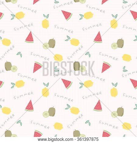 Cute Summer Fruit Seamless Pattern. Summer Fruit Concept.