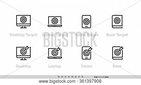 Marketing Target On Desktop, Laptop, Tablet And Book With Arrow Vector Icons. Editable Line Stroke P