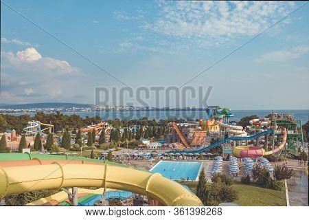 Huge Outdoor Water Park With Lots Of Slides And Entertainment. Bird\'s-eye View Of The Water Park. S