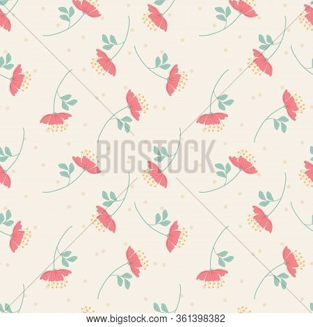 Sweet Pink Flower Seamless Pattern. Sweet Flower Concept.