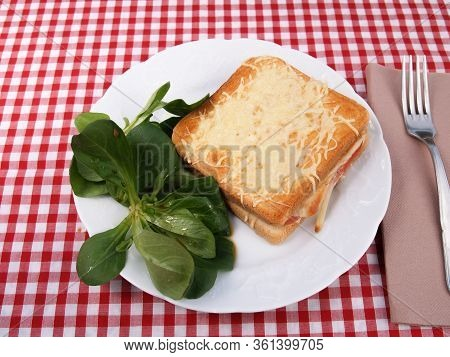 Croque-monsieur Croque-monsieur A Traditional French Bread Sandwich With Grated Cheese And Ham Grill