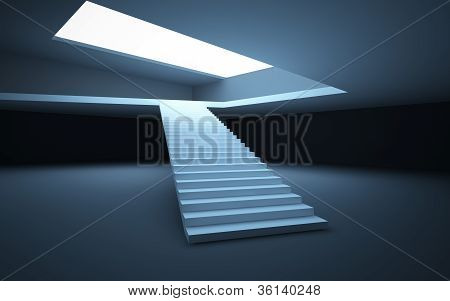 Abstract white interior black and white a straight staircase