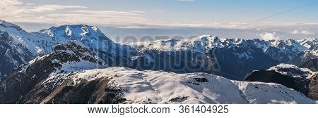 Amazing Panoramic View Of Freeze Mountain Range Alpes Landscape Viewpoint