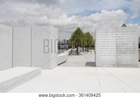 New York, Usa - July 3, 2013: Franklin D. Roosevelt Four Freedoms Park In New York. It Was Created I