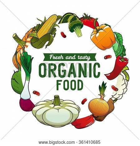 Vegetables And Green Salads Vector Round Poster. Vegetables And Veggies, Onion And Shallot Leek, Tom