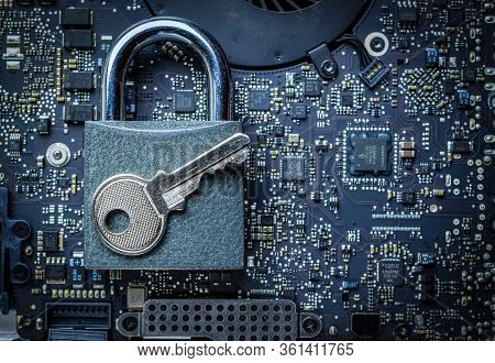 Hack Security Data Protection. Computer Internet Safe With Lock, Key On Microscheme Chip. Concept Im