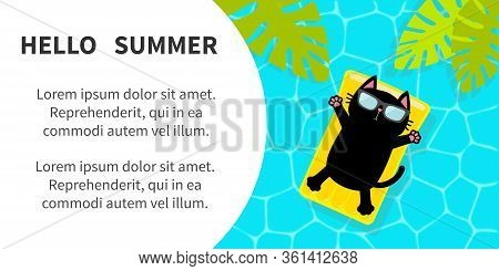Black Cat Floating On Yellow Pool Float Water Mattress. Swimming Pool. Top Air View. Pool Party. Sun