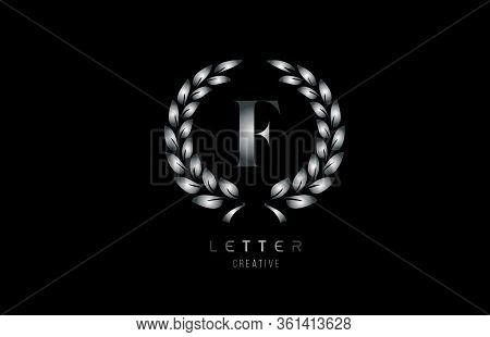 Silver Grey Metal F Alphabet Letter Logo Icon With Floral Design For Business And Company