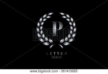 Silver Grey Metal P Alphabet Letter Logo Icon With Floral Design For Business And Company