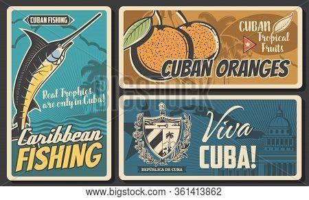 Cuba Travel, Culture Landmarks And Entertainment. Cuban Tropical Orange Fruits, Caribbean Fishing To
