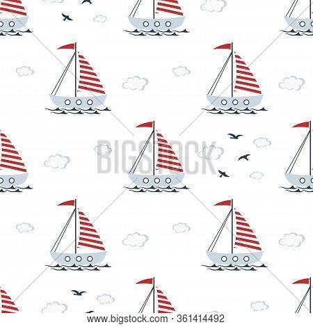 Marine Seamless Pattern With Cartoon Boats, Gulls, Clouds And Waves On White Background, Nautical Wa