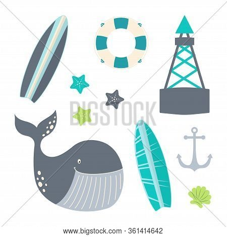 Nautical Set With Buoy, Lifebuoy, Surfboard, Whale, Starfish, Shell And Anchor Isolated On White, Ma