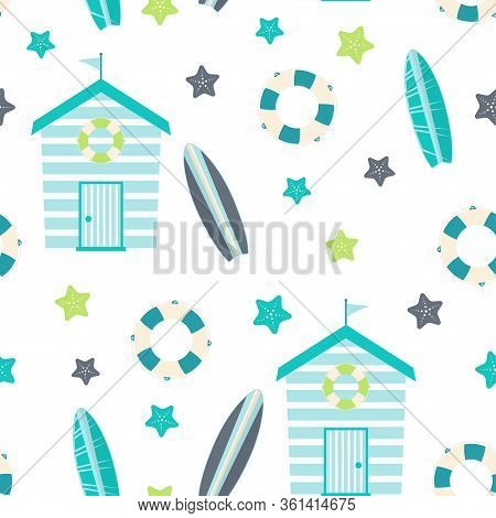 Summer Seamless Pattern With Beach Huts, Lifebuoy, Surfboard And Starfish, Vector Illustration Isola
