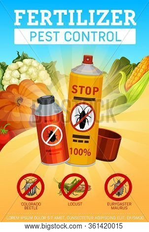 Agrarian Pest Control Service And Farming Fertilizers, Vector Poster. Vegetable Insects Exterminatio
