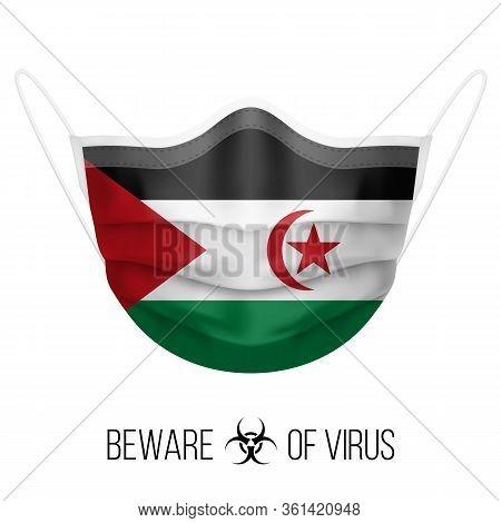 Medical Mask With National Flag Of Sahrawi Arab Democratic Republic. Protective Mask Virus And Flu.