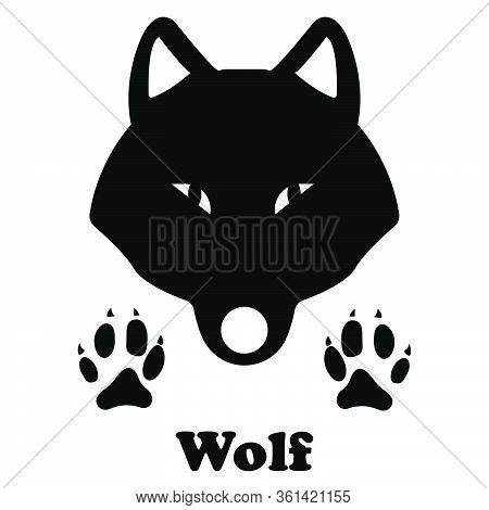 Wolf Head And Traces - Wild Wolf Icon - Animal Tracks - Predatory Animals