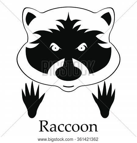 Raccoon Head And Traces - Raccoon Icon - Animal Tracks - Predatory Animals - Carnivore