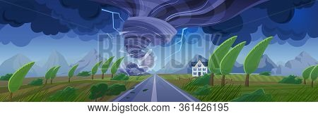 Storm With Tornado Flat Cartoon Panorama Landscape Vector Illustration Background. Panoramic Nature