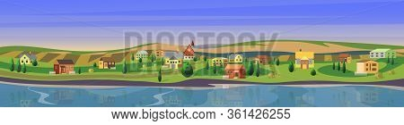 Lovely Small Town Flat Cartoon Landscape Countryside Panorama Background Vector Illustration. Wide C