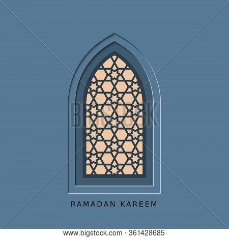 Ramadan Kareem, Generous Ramadan, Card With Islamic Night Window. Vector Papercut Geometric Template