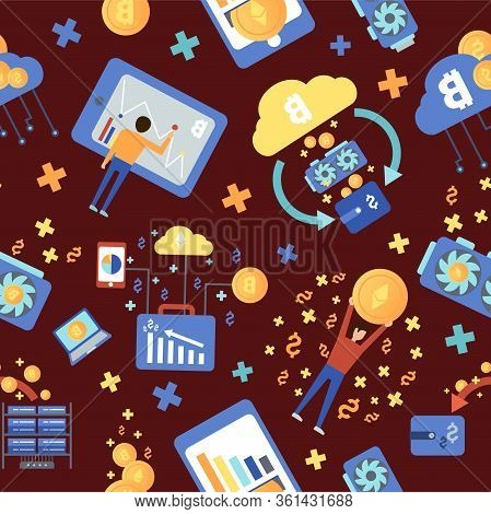 Bitcoin Mining Farm Pattern. Digital Crypto Currency. Modern Web Money. Mining Of Crypto-currencies.