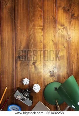retro concept and lamp at wooden table background surface table