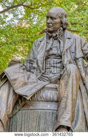New York, Usa - January 17, 2018: Horace Greeley Sculpture Made By John Quincy Adams Ward In Manhatt