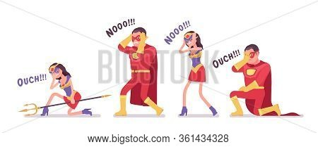 Unlucky Male And Female Super Hero In Attractive Red Costume. Unsuccessful Failed, Man, Woman Warrio