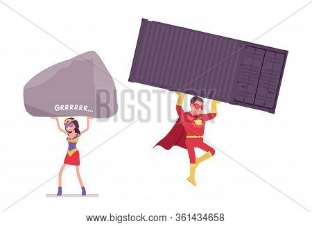 Male, Female Super Hero Wearing Red Costume, Carrying Big Heavy Things. Effective Man, Woman Warrior