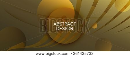 Abstract Vector Curve. Gold Futuristic Background. 3d Fluid Shapes. Creative Banner. Golden Abstract