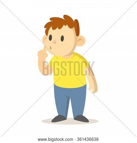 Boy Asking For Silence With Finger Pressed To His Lips, Cartoon Character Design. Flat Vector Illust
