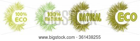 100 Percent Natural And Eco Green Icons. Fresh Healthy, Natural, Eco And Organic Vegan Food Logo Lab