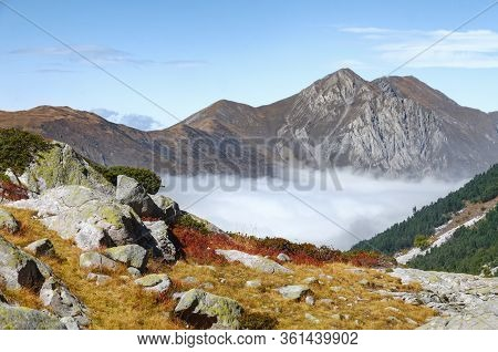 Mountain Peaks Emerging From The Clouds On The Path To The Lake Of Frisson, In Maritime Alps Park (p