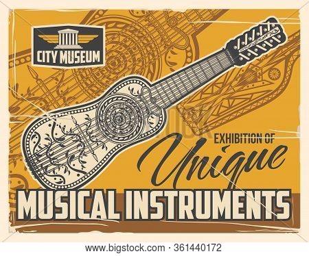 Musical String Instruments Museum Exhibition, Vintage Retro Poster. Folk Music Instruments Unique Ex
