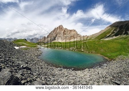 The Rocca La Meja, Famous Mountain Peak In Che Alps Of Piedmont, Italy, With The Nearby Lake And The