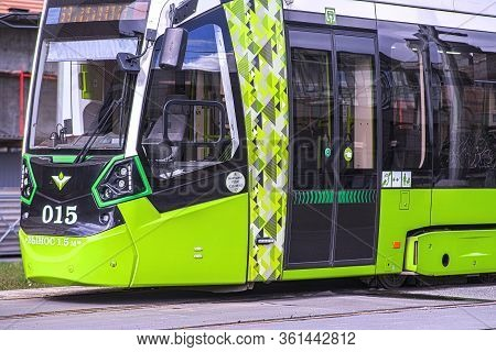 Green Tram Chizhik. The Tram Terminus Is At Ladoga Railway Station. Saint-petersburg. Russia. 04.15