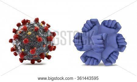 Virus molecule against antibody immunity defense human body molecule.