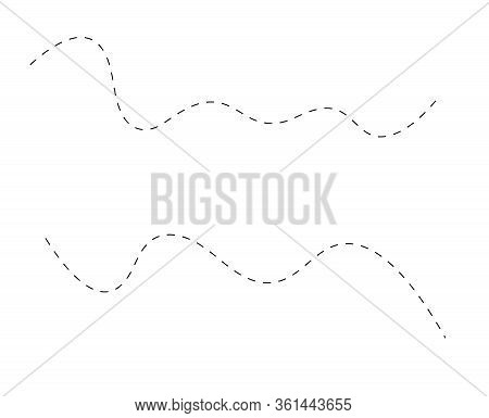 Path Flight Travel Trip Dashed Line Trace Destination Track And Silhouette, Travelling Symbol Vector