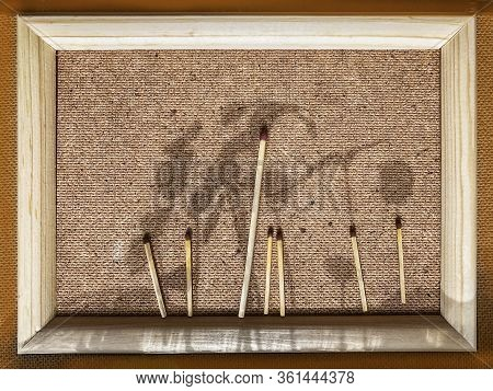 Wooden Frame With Applique Of Matches And Shadows From Young Ascending Sprouts Closeup. Natural Pict