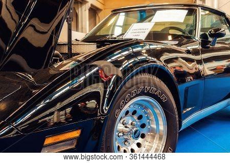 Turin, Italy - March 25, 2018: Black 1980 Chevrolet Corvette L-82 On A Classic American Car Exhibiti