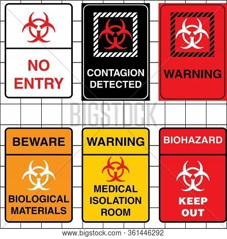 A Set Of Editable Vector Warning Signs For Medical And Contagion Use